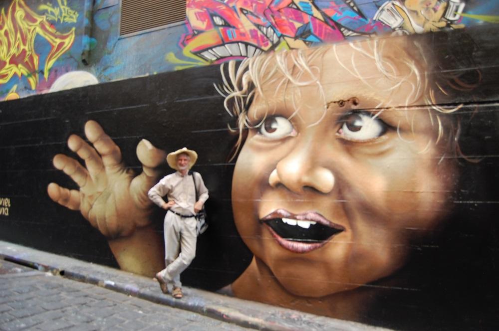 Aborygeńskie dziecko- grafiti w centrum Melbourne